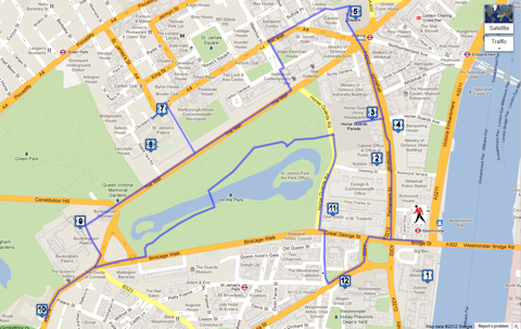 Westminster walk start and finish map
